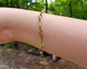 Delicate Peridot Stone Wire Link Bracelet