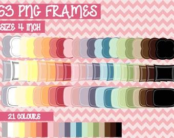 SALE 63 frames kit   PNG   Instant download   Digital file   Scrapbooking   Colourful   Commercial use