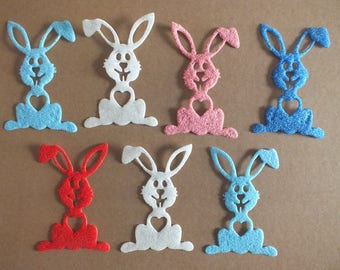 7 Furry Easter Bunnies Assorted Colours Furry Card
