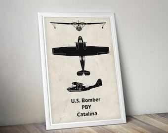 PBY Catalina, Vintage Airplane, WWII Airplanes, Aviation Print, Airplane Poster, Boys Room Decor