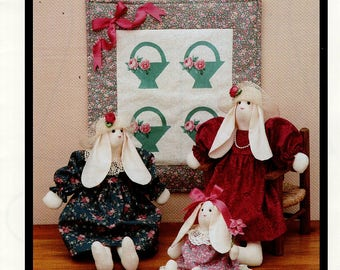 Fabricraft 280 Blossom & Friends Doll Bunny Rabbit Basket Quilt Floppy Ears Craft Sewing Pattern Free Us Ship Easter Uncut 1990's
