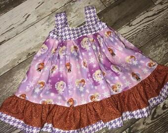 Little Girls Disney Frozen Elsa and Anna Dress Size 4 RTS