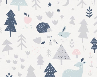 Gray and Pink Baby Woodland Organic Fabric - By The Yard - Girl / Modern / Fabric