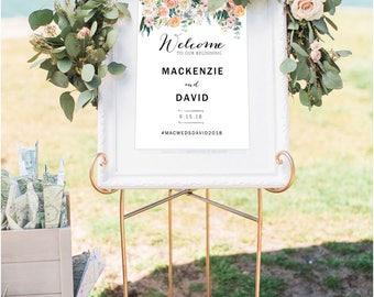 Wedding Welcome Sign Template, Printable Wedding Welcome Sign, DIY Wedding Sign Printable, Vertical Wedding Sign, Photoshop Template