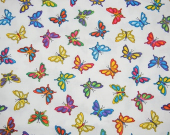 Candy Brights Colorful Butterflies Cotton Print Fabric