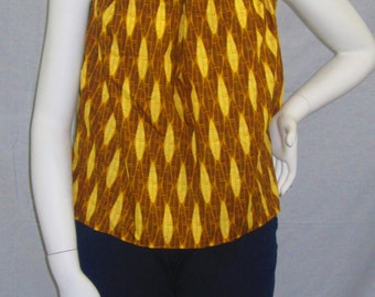 Sleeveless halter top- brown african print (size M; US 6-8)