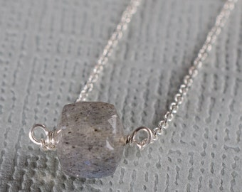 Labradorite Little Rock Necklace- or choose your stone