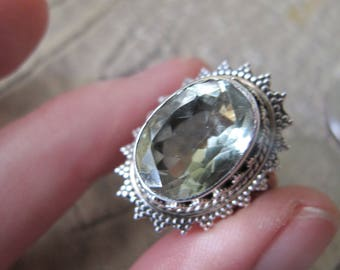 Granulation Sterling 925 Silver & Pale Green Gemstone Quartz Ring. Handmade in India. Indian Fine Gemstone Sterling Jewelry. Boho Exotic 925