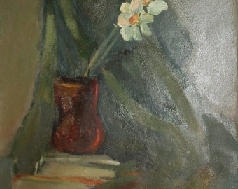Vintage oil painting still life with flowers and books