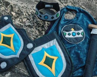 Knight Costume Gift Set TEAL and NAVY - Super Hero Costume - Halloween Costume - Kid Costume