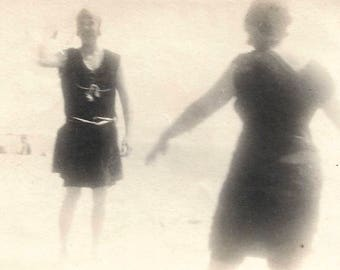 Vintage Photo Impressionistic Figures Swimsuits Beach Soft Focus Small Found Vernacular Photo