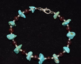 Tourquise Garnet and Silver bracelet