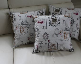 Sold individually, 3 RETRO cats 44/44 pillow cover designs to choose from