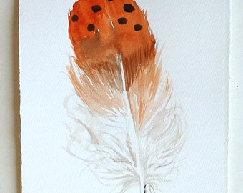 Feather painting, Watercolour feather illustration, Orange beige feather artwork, Feather wall art, Nature painting, Art lover gift Rakla17