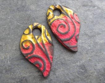 Wings- handmade artisan ceramic tribal rustic earring bead pair 4056