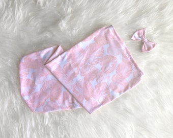 Baby Girl Light Pink Monstera Leaf Swaddle Sack Set with Bow, Swaddle, Cocoon, Sleep Sack, Swaddle, Newborn, Blanket, Headband, Top Knot