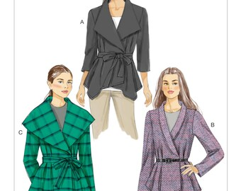 Sewing Pattern for Misses' DOUBLE-BREASTED JACKET & Belt, Vogue Pattern 9037, Womens , Very Easy Sew, Three Lengths, Collar Variations