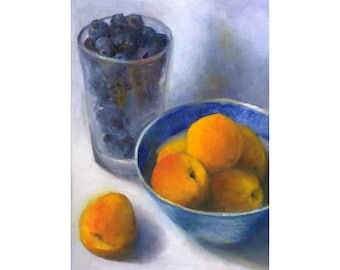Apricots and a Pint of Blueberries - art print of fruit oil painting - reproduction of still life painting for kitchen or dining room