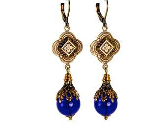 Royal Blue Quatrefoil Earrings in Antiqued Brass Layered Filigree Antique Victorian Renaissance Revival Style Cobalt Blue Czech Glass