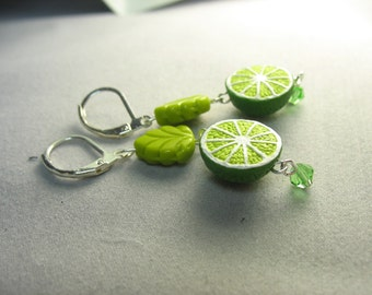 lime earrings ... juicy fresh squeezed little lime bead earrings with glass leaves