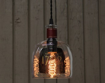 1792 Barton Bottle Pendant Light - Upcycled Industrial Glass Ceiling Light - Handmade Bourbon Bottle Light Fixture, Recycled Lighting