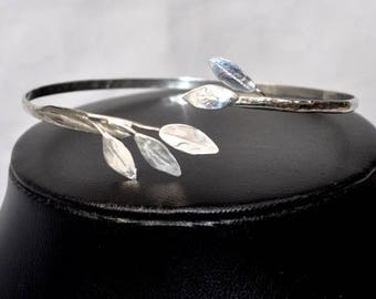 Handcrafted Leaf Bangle in Sterling Silver