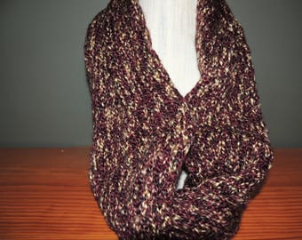 Infinity scarf, Variegated, Burgundy/brown and cream