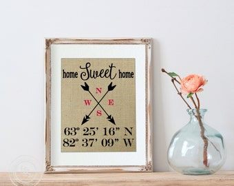 Home Sweet Home, First Home Gift, Latitude Longitude Burlap Print, Coordinates Sign, Real Estate Agent, Housewarming Gift, Address Sign