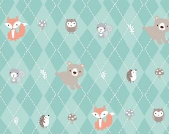 Little Forest, Fox Fabric, Animal Fabric, Argyle Fabric, Teal Argyle, Forest Animals, by 3 Wishes