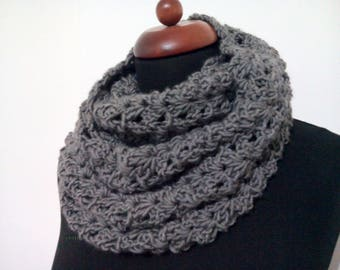 gray crochet scarf, neck warmer gray, double wrap neckwarmer, infinity scarves, handmade crochet scarf, double neck handmade crochet #etsy