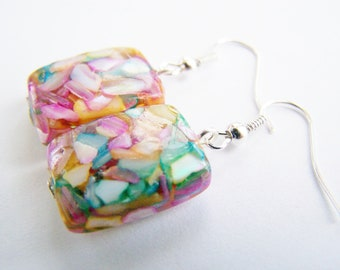 Mother of Pearl Earrings - FREE SHIPPING WAI - Mother of Pearl chips in clear resin - matching necklace also available - Affordable Gifts