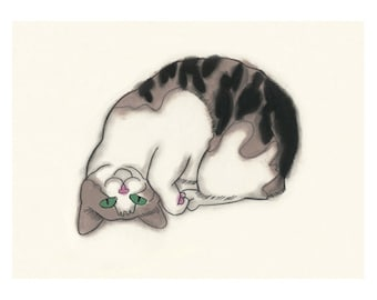 "Cat illustration tortoiseshell cat  Upside Down you turn me - 11.7"" X 8.3""  = A4 - 4 for 3 SALE"