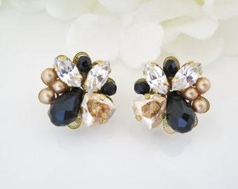 Gold and black earring, Crystal bridal earrings, Swarovski crystal and pearl wedding earring, Black wedding earring, Bridesmaid earrings