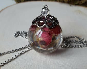 Bubble in resin, plastic, bubble ball with flowers, Rosebuds, dried flowers, resin necklace, Valentine's day gift, Aquastella