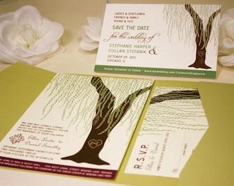 SAMPLE Cascading Willow Pocketfold Wedding Invitation, Outdoor Tree Wedding Invite, Rustic and Modern