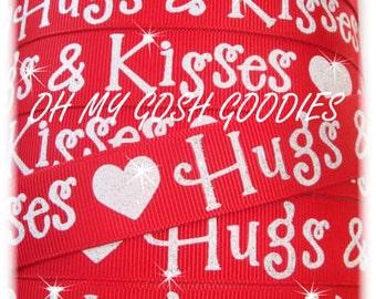 "Glitter HUGS & KISSES  grosgrain ribbon - 7/8"" - 5 Yards - Oh My Gosh Goodies Ribbon"