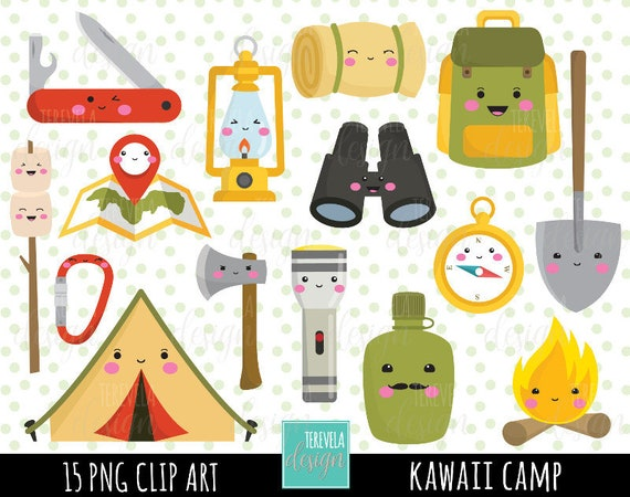 50 SALE CAMP Clipart Kawaii Clipartcommercial Use Camping Digital Equipment Tent Camp Fire Travel From Tereveladesign