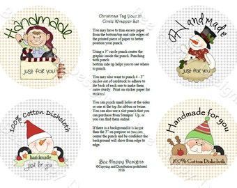 """PDF Printable """"Christmas Tag Your IT!"""" Circle Wrapper/Label Set - with background graphic"""
