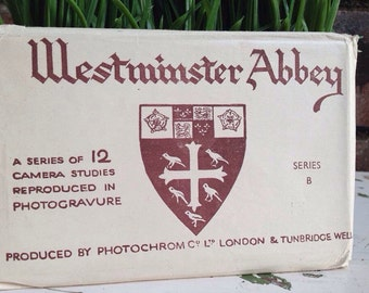 1930's complete set of 12 + 1 extra Westminster Abby post cards Souvinor