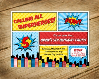 Superhero / Comic Book Themed Birthday Party Invitation