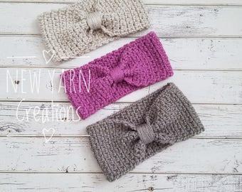 Knot Ear Warmer, Bow Ear Warmer, Knotted Ear Warmer, Crochet Ear Warmer, Knit Bow Headband, Child, Toddler, Baby, Ear Warmer, MADE 2 ORDER