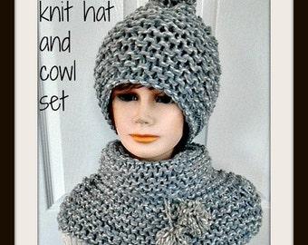 hat knitting pattern, cowl knitting pattern, child, teen, women, #1092, knitting patterns