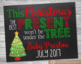 Christmas Pregnancy Announcement / Printable Chalkboard / Christmas Pregnancy / Little Present Under the Tree / Digital File
