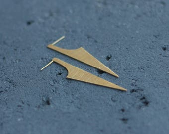 Mothers Day Gift, Long Triangular Earrings, Geometric Earrings, Gold Triangle Studs, Triangle Spike Posts, Long Stud Earrings, Gift for Her