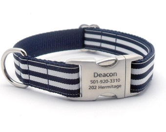 Monarch Stripe Laser Engraved Buckle Personalized Dog Collar - NAVY