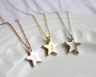 Personalized Star necklace, Initial Star, Bridesmaid necklace, Bridesmaid gift, Wedding necklace, Mothers day gift, Rose gold necklace