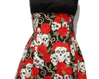 Skull and Roses Rockabilly Pin me Up Dress