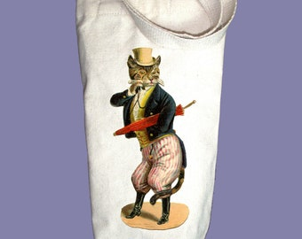 Victorian Cat with Top Hat and Monocle Illustration Canvas Alcohol/Wine Gift Bag