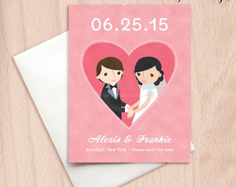 Custom Brides Lesbian Wedding Save the Date Cards - Pink Heart Postcards