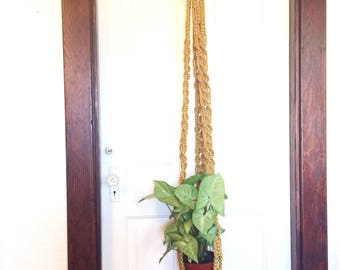 Vintage macrame plant hanger/70s yellow macrame plant holder